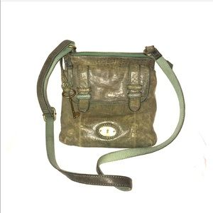 Fossil army green distressed crossbody bag.